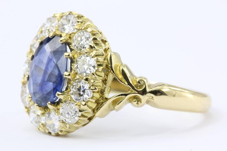 English Natural Burma Sapphire Old European Cut Diamond Ring AGL Certified 7