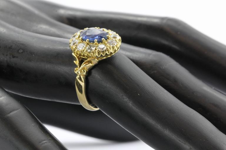 English Natural Burma Sapphire Old European Cut Diamond Ring AGL Certified 8