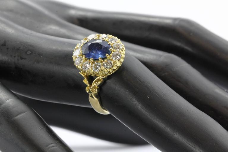 English Natural Burma Sapphire Old European Cut Diamond Ring AGL Certified 9