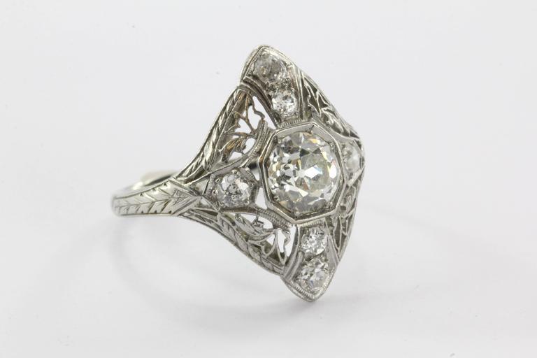 Art Deco Filigree Platinum 1.5 Carats Diamond Engagement Ring  3