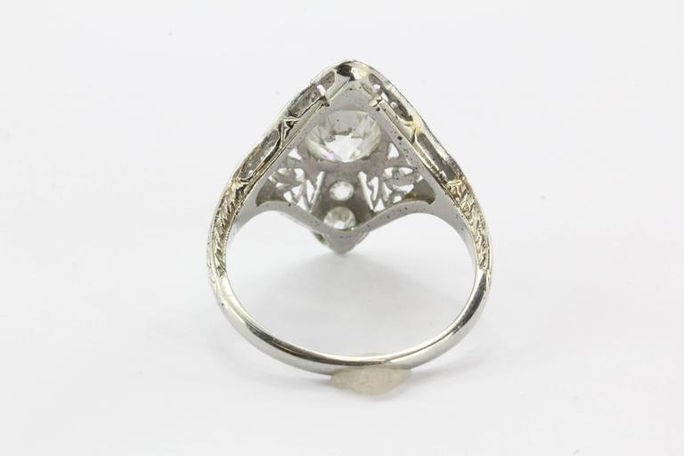 Art Deco Filigree Platinum 1.5 Carats Diamond Engagement Ring  In Excellent Condition For Sale In Cape May, NJ