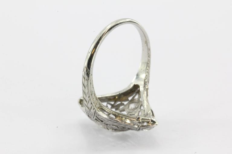 Art Deco Filigree Platinum 1.5 Carats Diamond Engagement Ring  5