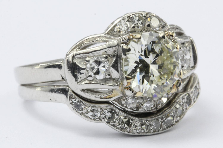 Art Deco Diamond Platinum Engagement Ring Set For Sale At 1stdibs