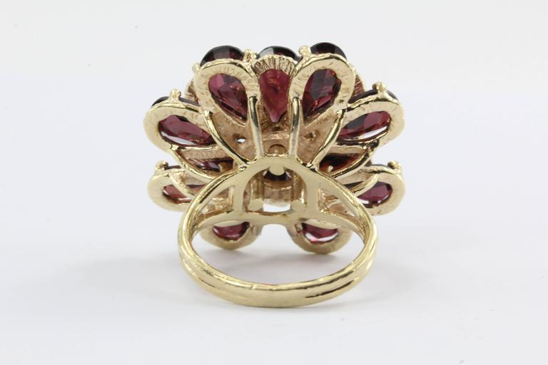 Women's Retro Chunky 14K Gold Floral Flower Garnet and Diamond Ring For Sale