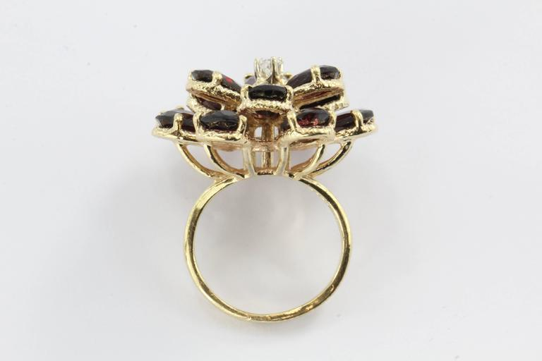 Retro Chunky 14K Gold Floral Flower Garnet and Diamond Ring For Sale 1