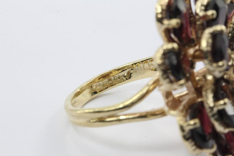 Retro Chunky 14K Gold Floral Flower Garnet and Diamond Ring For Sale 2