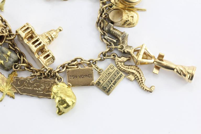 1940s Gold Charm Bracelet with Cartier and Tiffany & Co. Charms 3