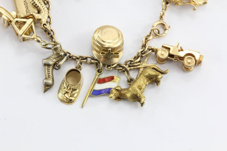 1940s Gold Charm Bracelet with Cartier and Tiffany & Co. Charms 4