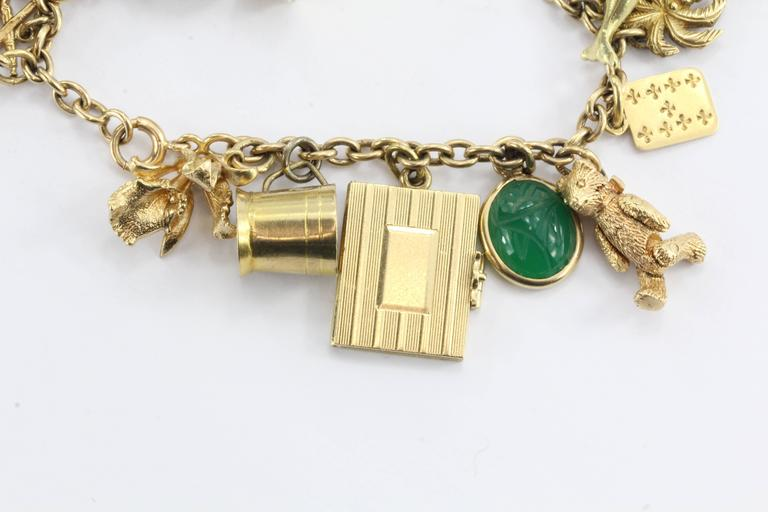 1940s Gold Charm Bracelet with Cartier and Tiffany & Co. Charms 5