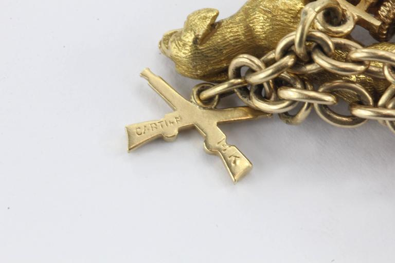 1940s Gold Charm Bracelet with Cartier and Tiffany & Co. Charms 7
