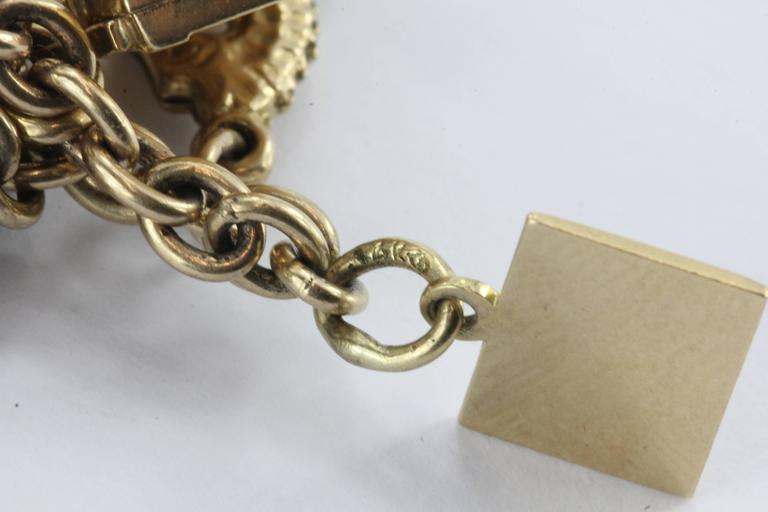 1940s Gold Charm Bracelet with Cartier and Tiffany & Co. Charms 10