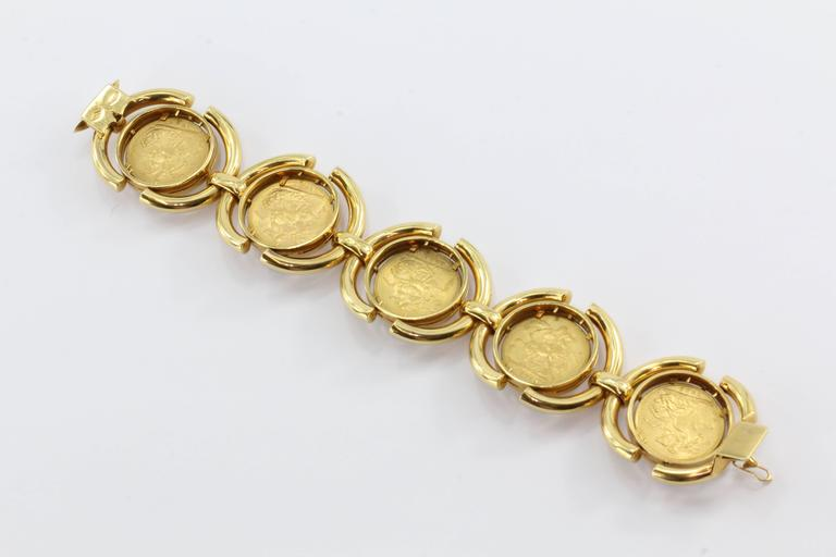 Modern Heavy British Gold Sovereign Coin Bracelet From Verona Italy For