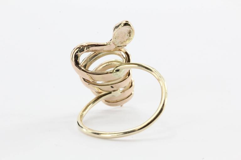 Victorian 10K Gold Curly Twisted Snake Opal Diamond Conversion Ring 4