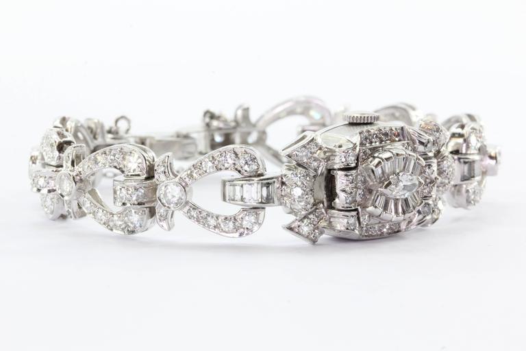 Hamilton Ladies Art Deco Platinum Diamond Bracelet Wristwatch 2