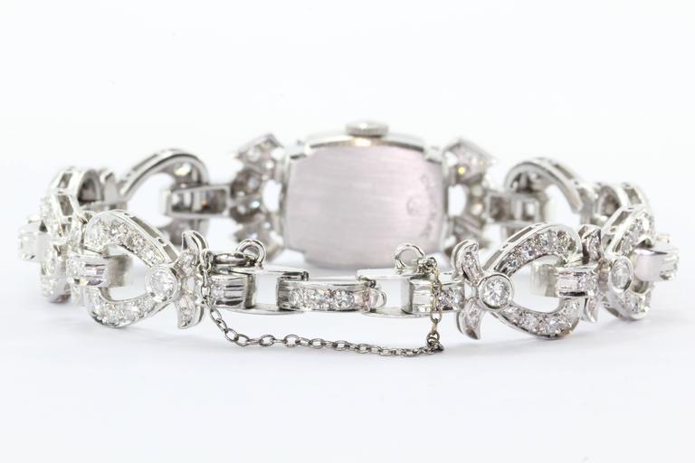 Hamilton Ladies Art Deco Platinum Diamond Bracelet Wristwatch 3