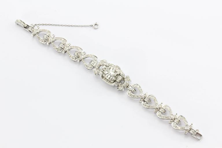 Hamilton Ladies Art Deco Platinum Diamond Bracelet Wristwatch 4