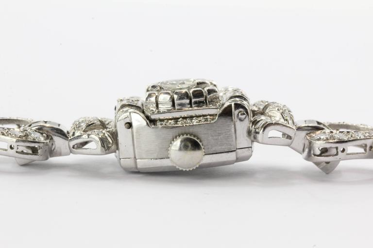 Hamilton Ladies Art Deco Platinum Diamond Bracelet Wristwatch 6