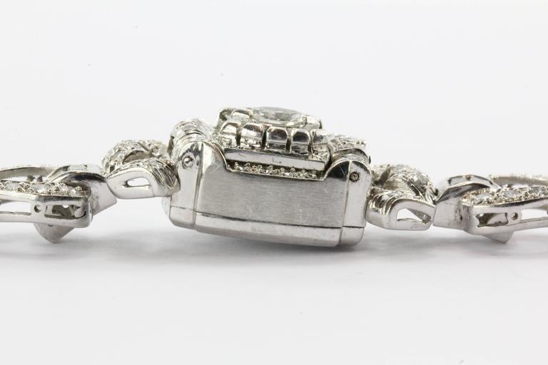 Hamilton Ladies Art Deco Platinum Diamond Bracelet Wristwatch 7