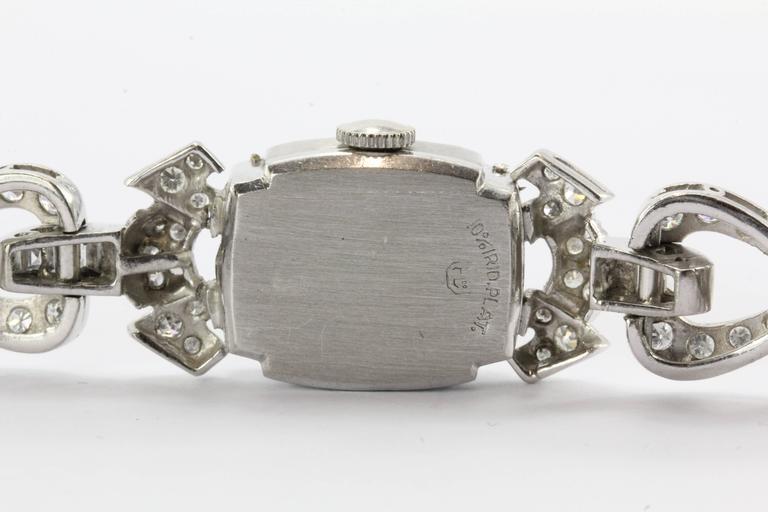 Hamilton Ladies Art Deco Platinum Diamond Bracelet Wristwatch 8