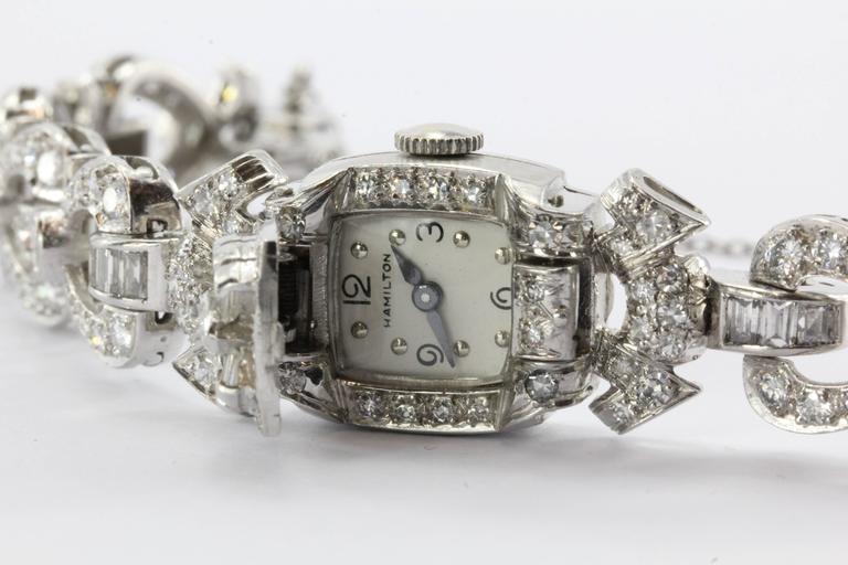 Hamilton Ladies Art Deco Platinum Diamond Bracelet Wristwatch 9