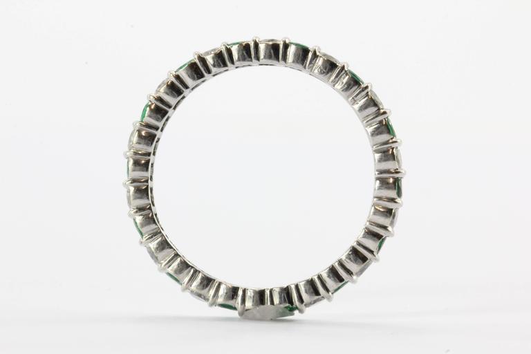 emerald platinum eternity band ring at 1stdibs