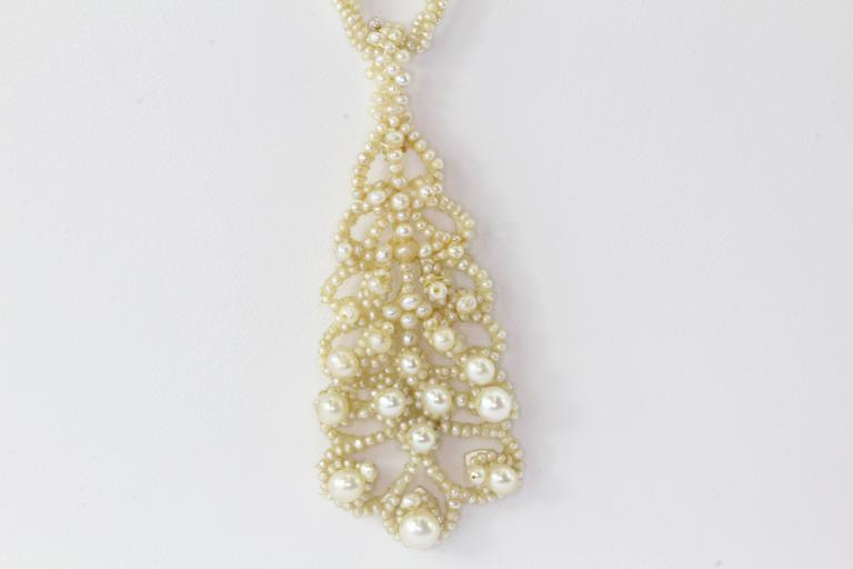 Circa 1854 Georgian Seed Pearl Parure Necklace, Earring & Brooch For Sale 1