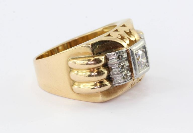 French Art Deco Transition Cut Diamond Gold Platinum Tank Ring  In Excellent Condition For Sale In Cape May, NJ