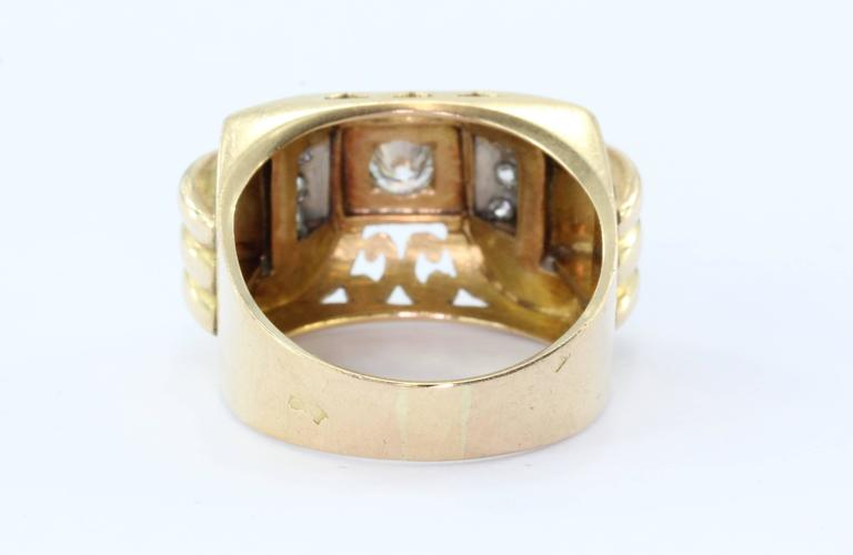 Women's or Men's French Art Deco Transition Cut Diamond Gold Platinum Tank Ring  For Sale