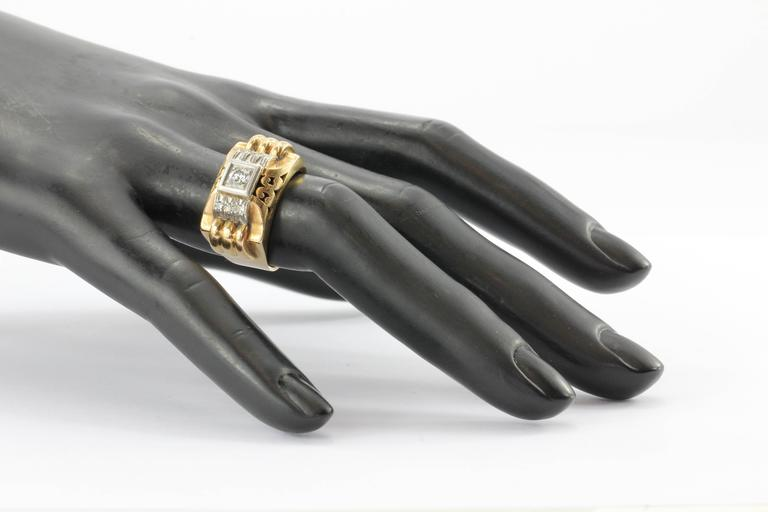 French Art Deco Transition Cut Diamond Gold Platinum Tank Ring  For Sale 2