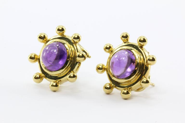 Rare Tiffany & Co. Paloma Picasso  Amethyst Gold Earrings In Excellent Condition For Sale In Cape May, NJ