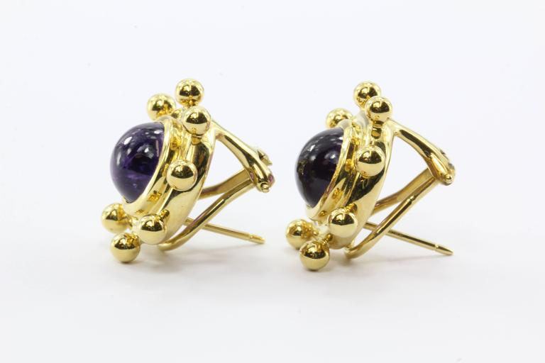 Women's Rare Tiffany & Co. Paloma Picasso  Amethyst Gold Earrings For Sale