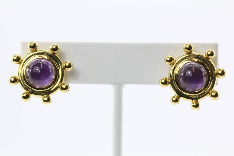 Rare Tiffany & Co. Paloma Picasso  Amethyst Gold Earrings For Sale 5