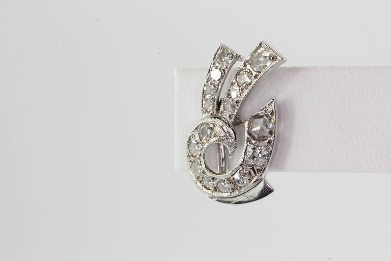 Art Deco White Gold Rose Cut Diamond Earrings In Excellent Condition For Sale In Cape May, NJ