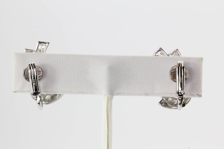 Art Deco White Gold Rose Cut Diamond Earrings 4