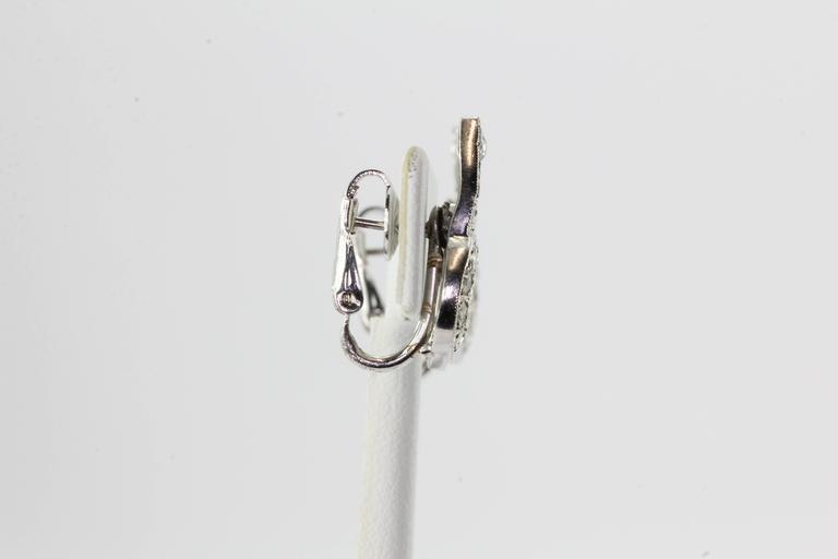 Art Deco White Gold Rose Cut Diamond Earrings 5