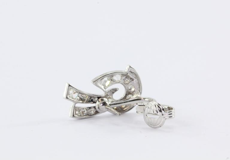Art Deco White Gold Rose Cut Diamond Earrings 6