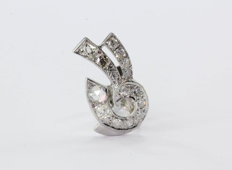 Art Deco White Gold Rose Cut Diamond Earrings 8