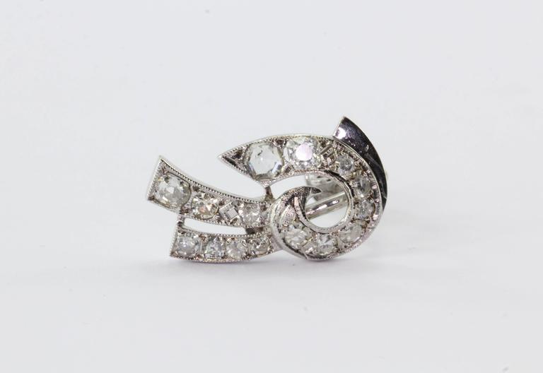 Art Deco White Gold Rose Cut Diamond Earrings 9