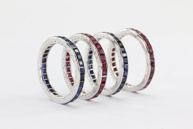 Tiffany And Co Four Stackable Art Deco Ruby Sapphire