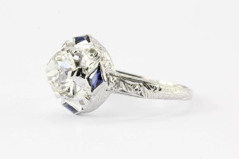 blue diamond wedding ring deco european sapphire platinum engagement 1925