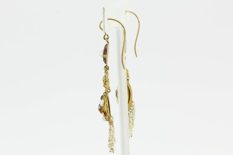 Belle Époque Austro-Hungarian Gold Ruby Pearl and Enamel Chandelier Earrings, circa 1890 For Sale