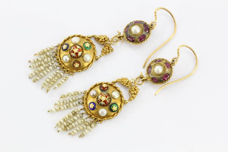 Austro-Hungarian Gold Ruby Pearl and Enamel Chandelier Earrings, circa 1890 In Excellent Condition For Sale In Cape May, NJ