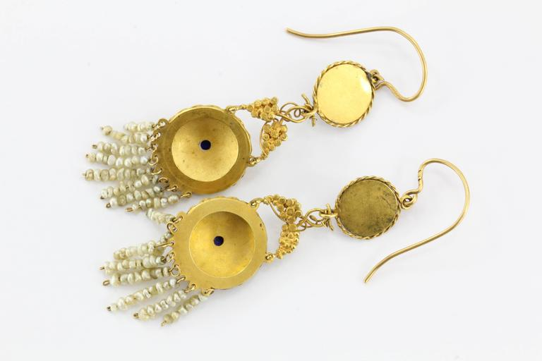 Women's Austro-Hungarian Gold Ruby Pearl and Enamel Chandelier Earrings, circa 1890 For Sale