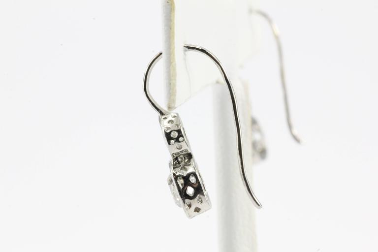 Edwardian GIA 2.38 Carat Old Mine and Old European Diamond Platinum Earrings For Sale