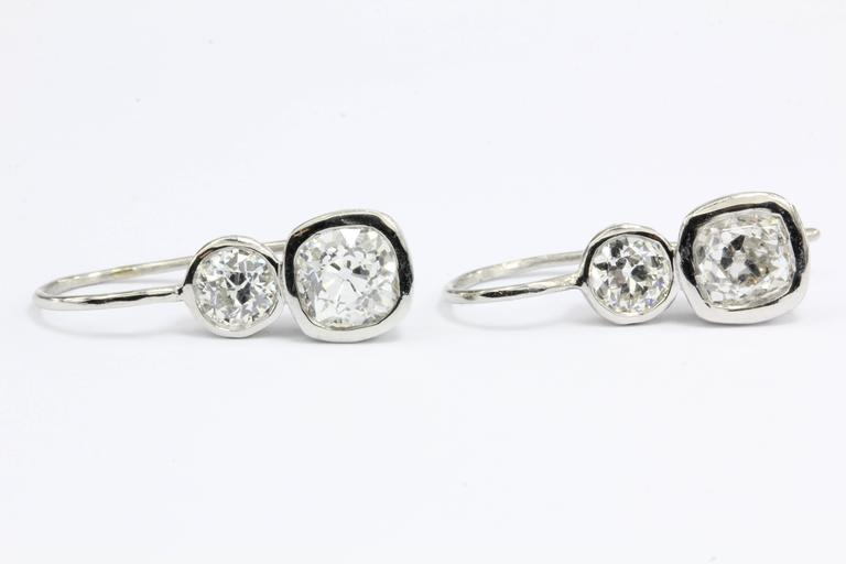 GIA 2.38 Carat Old Mine and Old European Diamond Platinum Earrings 4
