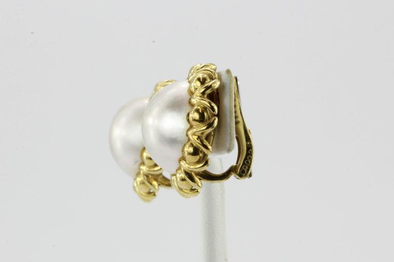 Cartier Mabe Pearl Yellow Gold Clip-On Earrings, circa 1970s 2