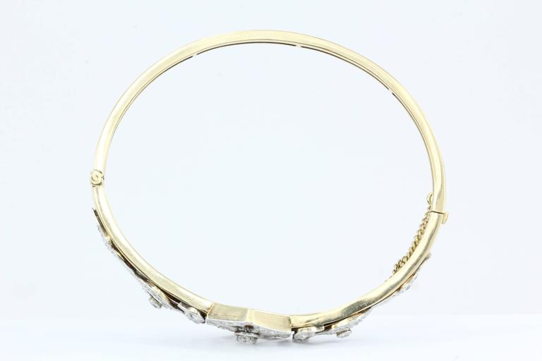 Art Deco Yellow Gold European Cut Diamond Bangle Bracelet, circa 1920 For Sale 1