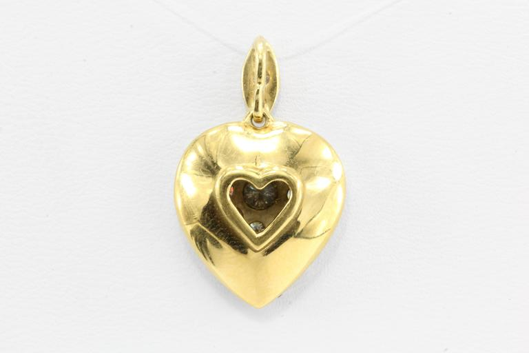 Edwardian Old European Cut Diamond Gold Platinum Top Heart Pendant 2