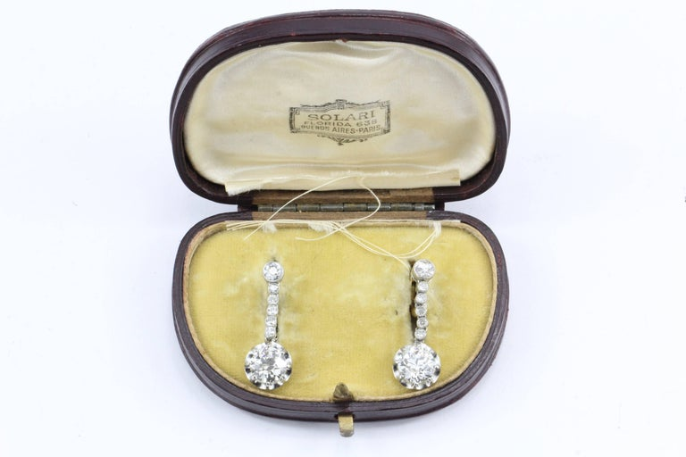 Edwardian 4.58 Carat Drop Diamond Earrings 6