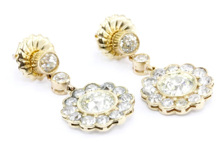 GIA Edwardian 5 Carat Old European Diamond Drop Earrings, circa 1900 For Sale 3